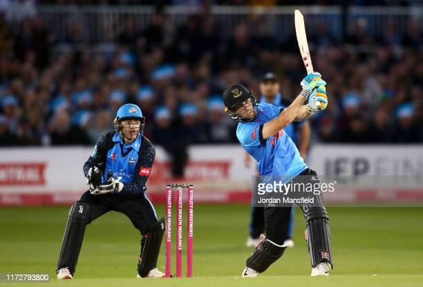 Phil Salt of Sussex Sharks bats during the Vitality T20 Blast Quarter-Final match between Sussex Sharks and Worcestershire Rapids at The 1st Central...