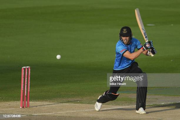 Phil Salt of Sussex Sharks hits out during the Vitality Blast match between Sussex Sharks and Glamorgan at The 1st Central County Ground on August 14...