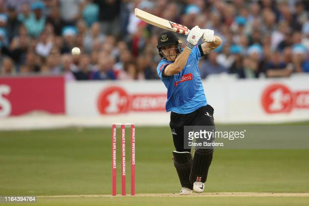 Phil Salt of Sussex Sharks plays a shot during the Vitality Blast match between Sussex Sharks and Surrey at The 1st Central County Ground on July 26...
