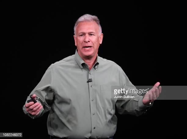 Phil Schiller senior vice president of worldwide marketing at Apple Inc speaks at an Apple event at the Steve Jobs Theater at Apple Park on September...