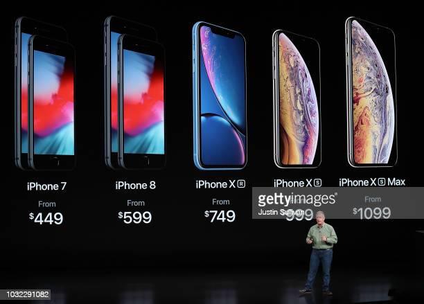 Phil Schiller senior vice president of worldwide marketing at Apple Inc at the Steve Jobs Theater at Apple Park on September 12 2018 in Cupertino...