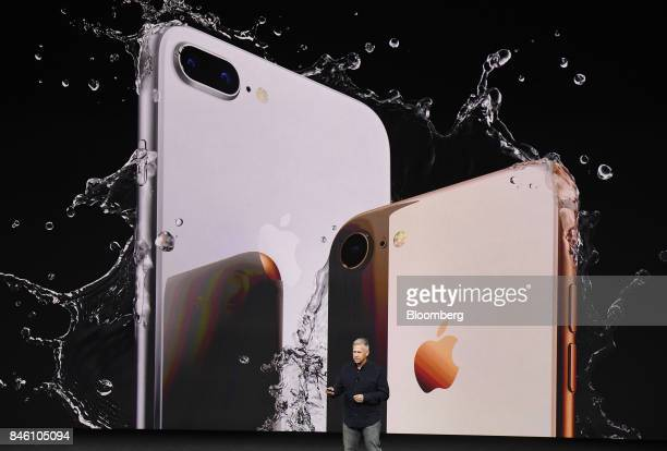 Phil Schiller senior vice president of worldwide marketing at Apple Inc pauses while speaking about the new iPhone 8 and 8 Plus during an event at...