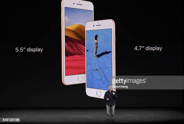Phil Schiller senior vice president of worldwide marketing at Apple Inc speaks about the new iPhone 8 and 8 Plus during an event at the Steve Jobs...