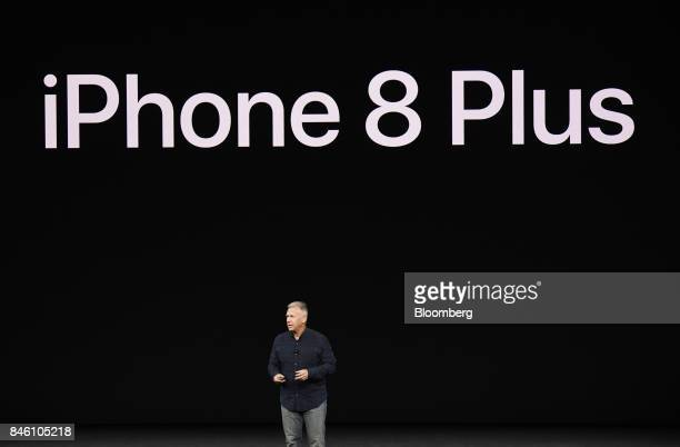 Phil Schiller senior vice president of worldwide marketing at Apple Inc speaks about the new iPhone 8 Plus during an event at the Steve Jobs Theater...