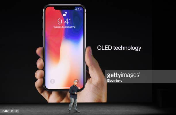 Phil Schiller senior vice president of worldwide marketing at Apple Inc speaks about the iPhone X during an event at the Steve Jobs Theater in...