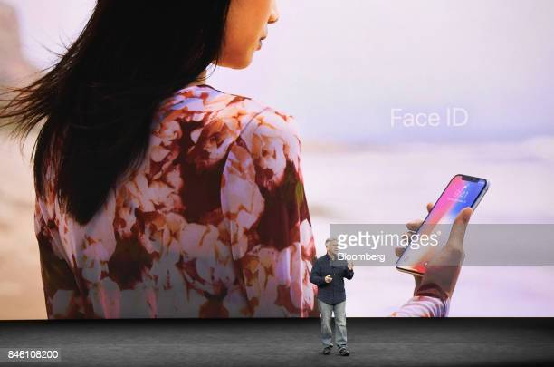 Phil Schiller senior vice president of worldwide marketing at Apple Inc speaks about Face ID for the iPhone X during an event at the Steve Jobs...