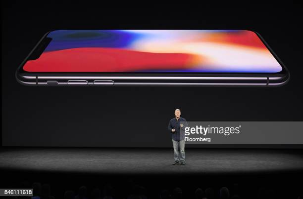 Phil Schiller senior vice president of worldwide marketing at Apple Inc speaks about iPhone X during an event at the Steve Jobs Theater in Cupertino...