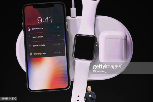 Phil Schiller senior vice president of worldwide marketing at Apple Inc speaks about the Air Power charger during an event at the Steve Jobs Theater...
