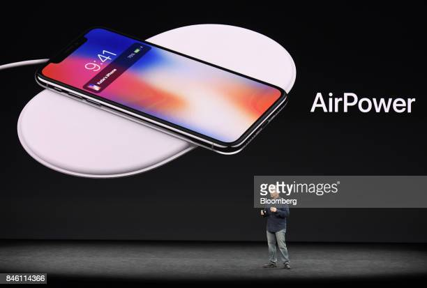 Phil Schiller senior vice president of worldwide marketing at Apple Inc speaks about the AirPower charger during an event at the Steve Jobs Theater...