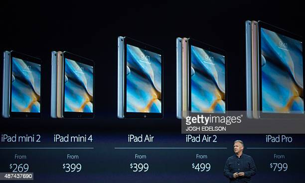 Phil Schiller Senior Vice President of Worldwide Marketing for Apple speaks about the new iPad Pro during a media event in San Francisco California...