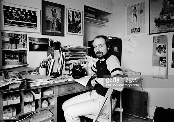 Phil Sheldon a British sports photographer who specialised in golf photography pictured in his office at home in London circa 1982