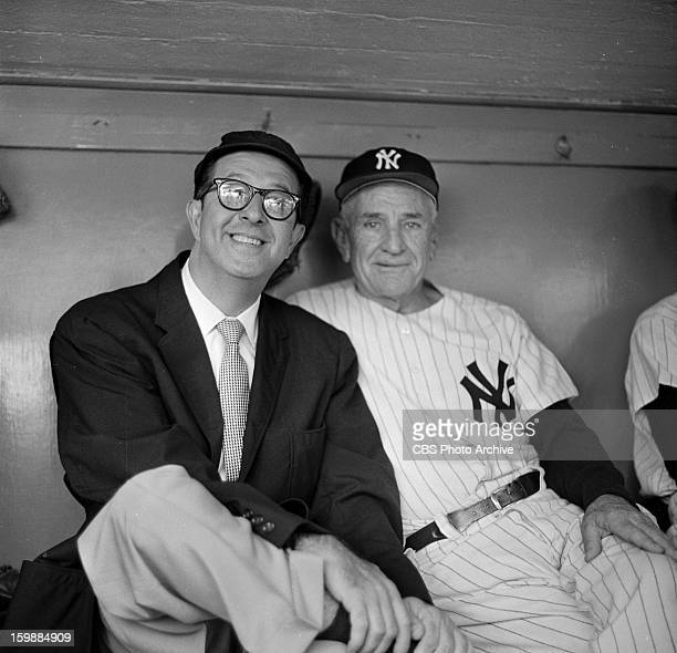 Phil Silvers visits with Casey Stengel at Yankee Stadium NY Image dated July 27 1957
