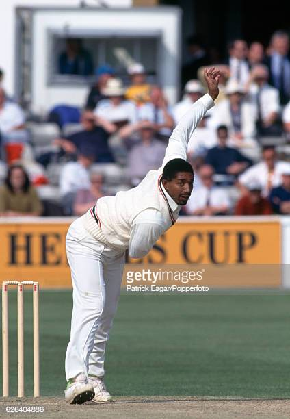 Phil Simmons bowling for Leicestershire during the Benson and Hedges Cup group match between Essex and Leicestershire at the County Ground Chelmsford...