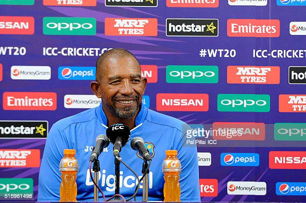 Phil Simmons Head Coach of the West Indies addresses a press conference after the ICC World Twenty20 India 2016 match between West Indies and England...