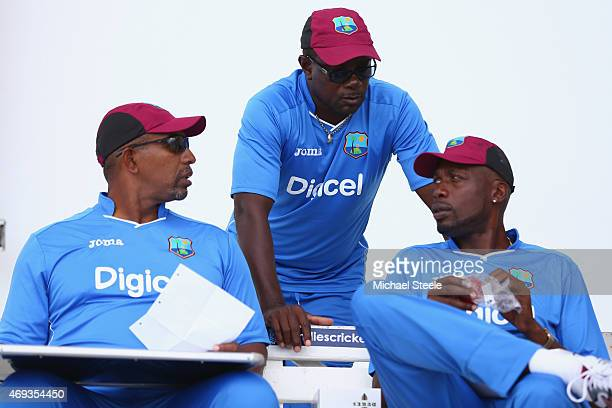 Phil Simmons head coach Sir Richie Richardson manager and Sir Curtly Ambrose bowling coach of West Indies in conversation during the West Indies nets...