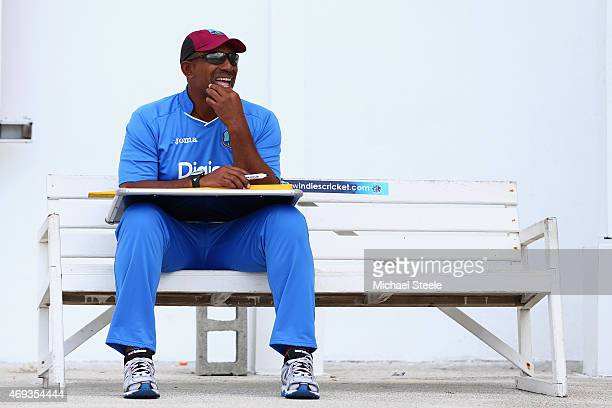 Phil Simmons the head coach of West Indies during the West Indies nets session at the Sir Vivian Richards Stadium on April 11 2015 in Antigua Antigua...