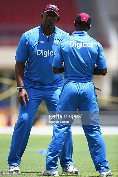 Phil Simmons the Head Coach of West Indies during the West Indies nets session at the Sir Vivian Richards stadium on April 12 2015 in Antigua Antigua...