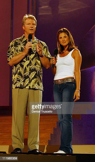 Phil Simms and Daisy Fuentes during The 2002 Miss Universe Rehearsals at Roberto Clemente Colliseum in San Juan Porta Rico Puerto Rico