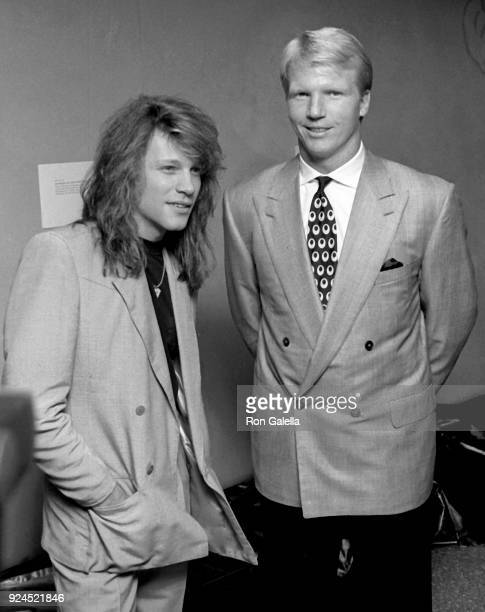 Phil Simms and Jon Bon Jovi attend Third Annual Silver Clef Awards Dinner on November 15 1990 at Roseland in New York City