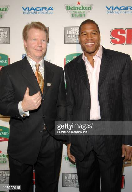Phil Simms and Michael Strahan during Sports Illustrated Celebrates 2006 Sportsman of the Year Dwyane Wade at Skylight Studios in New York City New...