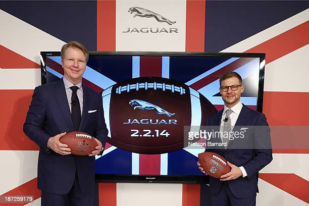Phil Simms CBS sports lead NFL analyst and Super Bowl XXI MVP joined Jeff Curry Brand Vice President Jaguar North America to announce plans for...