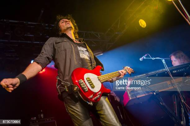 Phil Soussan performs onstage with Last in Line at the NI Music Awards at Mandela Hall on November 11 2017 in Belfast Northern Ireland