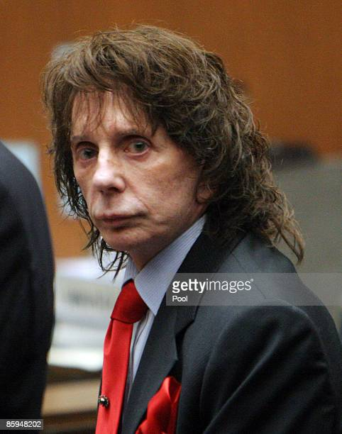 Phil Spector looks at the jury as it they arrive before the verdict was read at Los Angeles Criminal Courts April 13, 2009 in Los Angeles,...