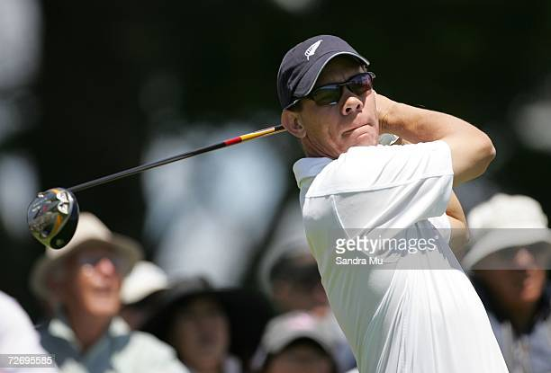 Phil Tataurangi of New Zealand tees off on the 14th fairway during round three of the New Zealand Open at Gulf Harbour Country Club on the...
