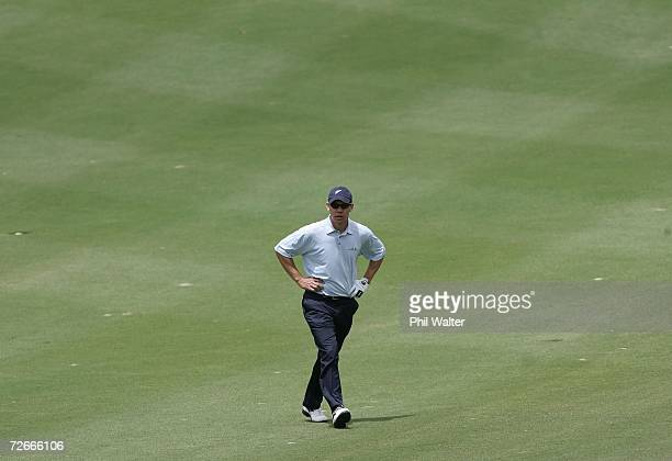 Phil Tataurangi of New Zealand walks up the fairway during the New Zealand Open Pro Am at the Gulf Harbour Country Club on the Whangaparoa Peninsula...