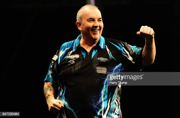 Phil Taylor celebrates during Night Five of the Betway Premier League Darts at Westpoint Arena on March 2 2017 in Exeter England