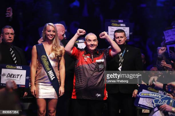 Phil Taylor of England reacts prior to his first round during day two of the 2018 William Hill PDC World Darts Championships at Alexandra Palace on...