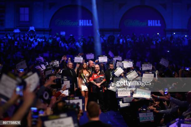 Phil Taylor of England waits to walk on the stage prior to the second round match against Justin Pipe of England on day ten of the 2018 William Hill...