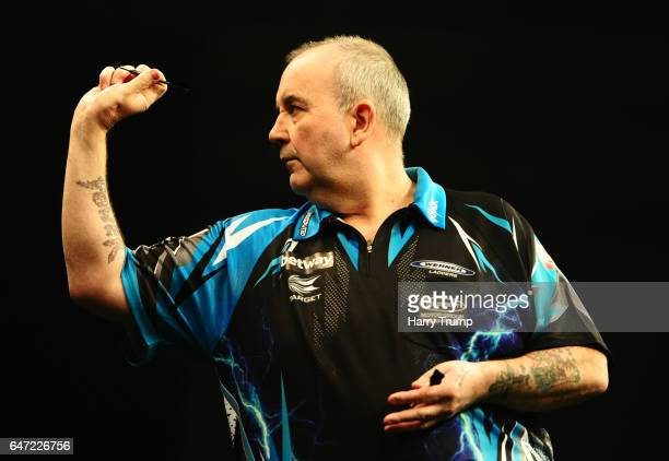 Phil Taylor throws during Night Five of the Betway Premier League Darts at Westpoint Arena on March 2 2017 in Exeter England