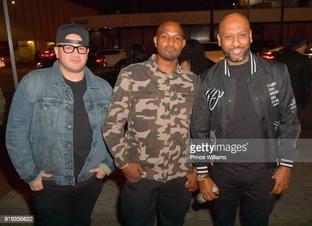 Phil The Mayor Alex Gidewon and Mike Gardner attend All Star weekend Kick Off Party at Boulevard3 on February 17 2018 in Hollywood California