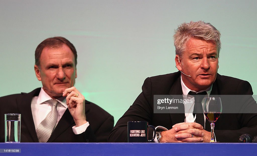 Phil Thompson (l) and Charlie Nicholas answer questions during Gillette Soccer Saturday Live with Jeff Stelling on March 19, 2012 at the Bournemouth International Centre in Bournemouth, England.
