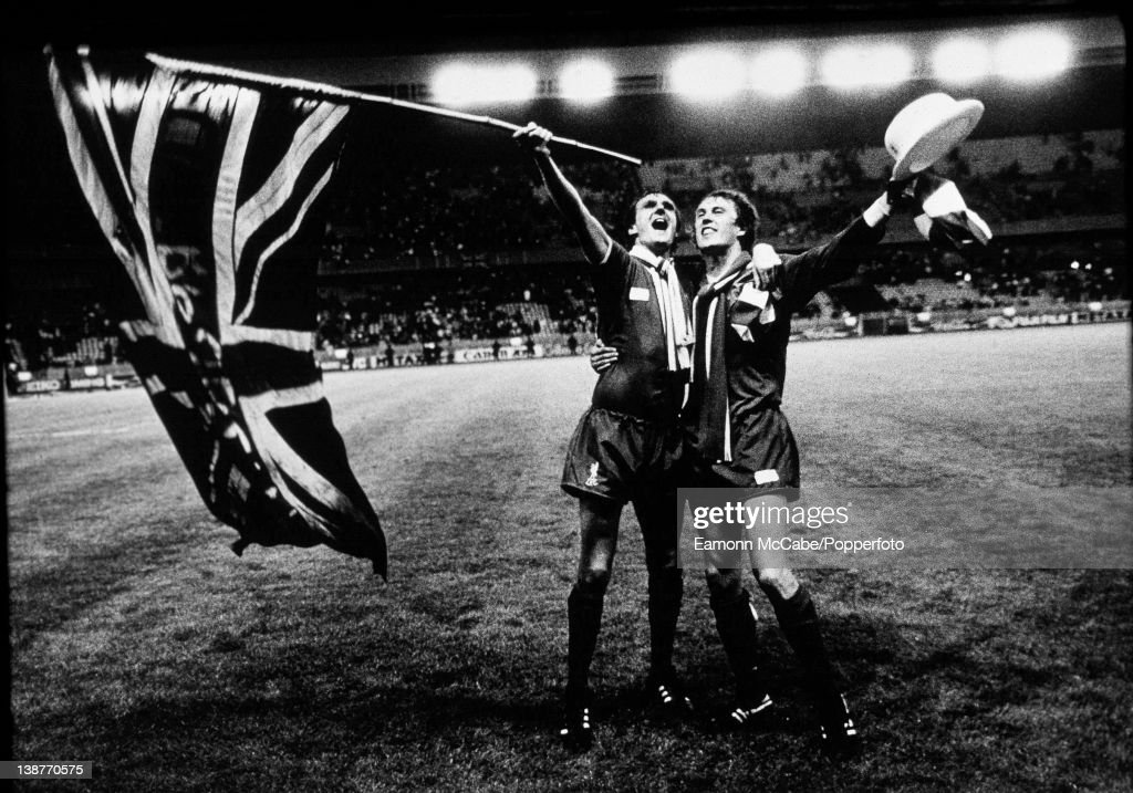 Phil Thompson and Phil Neal of Liverpool celebrate winning the European Cup against Real Madrid at the Parc des Princes, Paris, 27th May1981. Alan Kennedy scored the only goal in a 1-0 victory.
