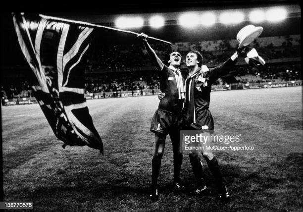 Phil Thompson and Phil Neal of Liverpool celebrate winning the European Cup against Real Madrid at the Parc des Princes, Paris, 27th May 1981. Alan...