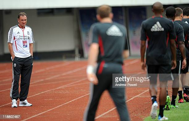 Phil Thompson of Liverpool attends a training session at Guangdong Provincial People's Stadium at the start of their Pre season tour on July 11 2011...