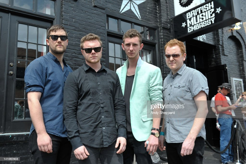 Phil Titus, Steve Sparrow, Ben Giddings and Andy Hayes of Morning Parade posed backstage at The British Music Embassy, Latitude 30 during SXSW Music Festival 2012 on March 15, 2012 in Austin, United States.