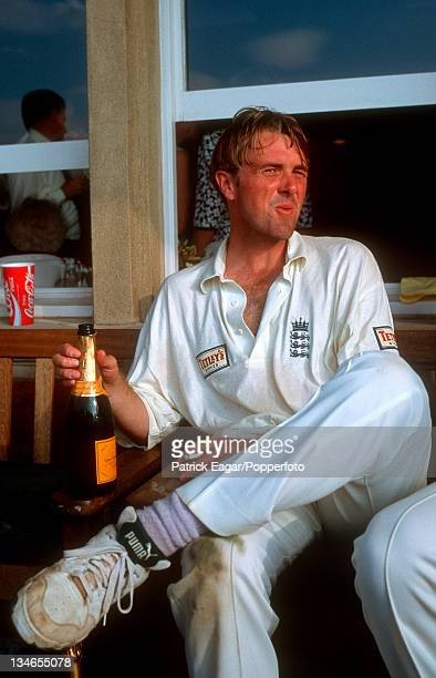 Phil Tufnell after winning the Man of the Match award, England v Australia, 6th Test, The Oval, Aug 97.