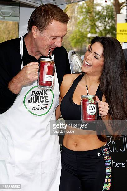 Phil Tufnell and Casey Batchelor attend the launch of 'Pork Juice' in Primrose Hill on April 16 2015 in London England
