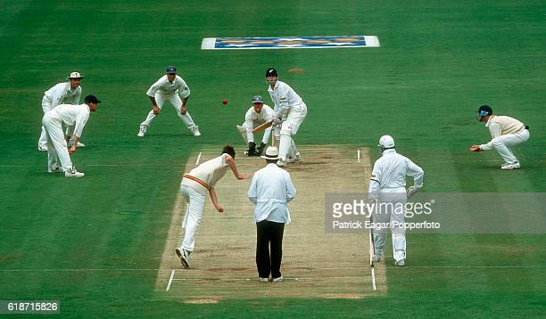 Phil Tufnell of England bowls to Blair Pocock of New Zealand during the 2nd Test match between New Zealand and England at the Basin Reserve,...
