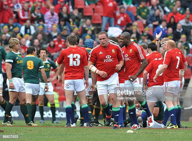 Phil Vickery of the British and Irish Lions after he won a penalty for strong scrummaging during The British and Irish Lions Tour third test match...