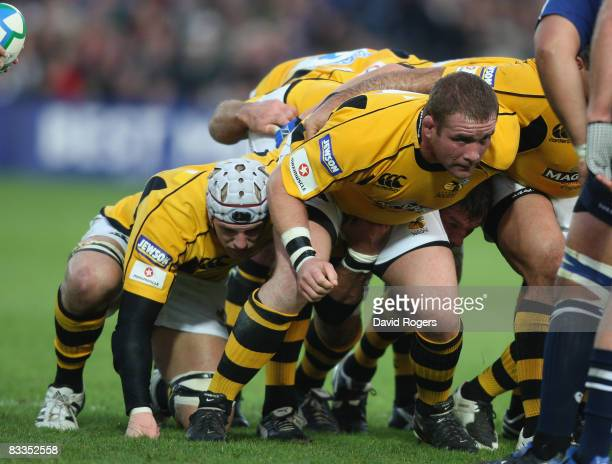 Phil Vickery of Wasps packs down during the Heineken Cup match between Leinster and London Wasps at the RDS Ground on October 18 2008 in Dublin...