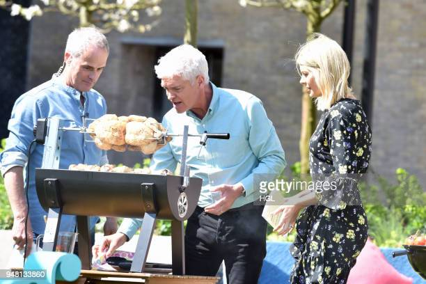 Phil Vickery Phillip Schofield Holly Willoughby seen filming at the ITV Studios on April 18 2018 in London England