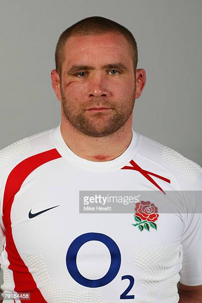 Phil Vickery poses during the England rugby union squad photocall at Twickenham on January 21 2008 in London England