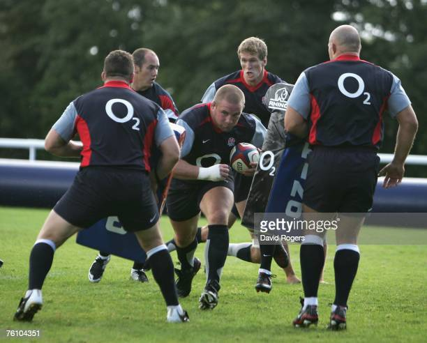 Phil Vickery the England captain charges forward during the England rugby training session held at Bath University on August 15 2007 in Bath England