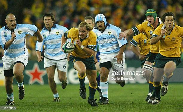 Phil Waugh of the Wallabies in action during the Rugby World Cup Pool A match between Australia and Argentina at Telstra Stadium October 10, 2003 in...