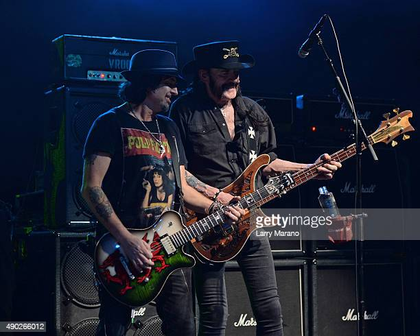 Phil Wizzo Campbell and Lemmy Kilmister of Motorhead perform at The Pompano Beach Amphitheater on September 26 2015 in Pompano Beach Florida
