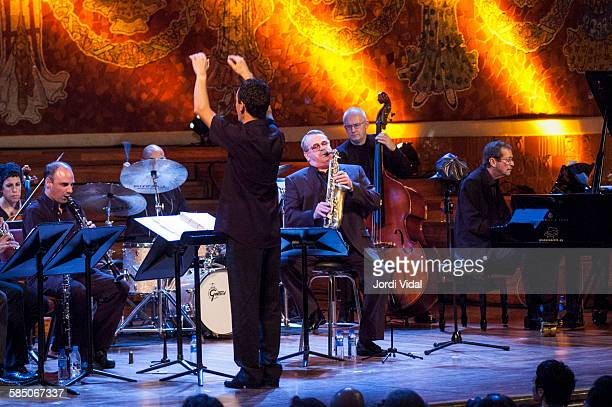 Phil Woods Jesper Lundgaard and Ben Aronov of Phil Woods Quartet perform on stage Bird with Stringsand more during Barcelona International Jazz...